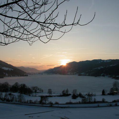 Bio Ferienhof Hagspiel See mit Wiese im Winter
